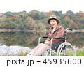 紅葉 シニア女性 車椅子 45935600