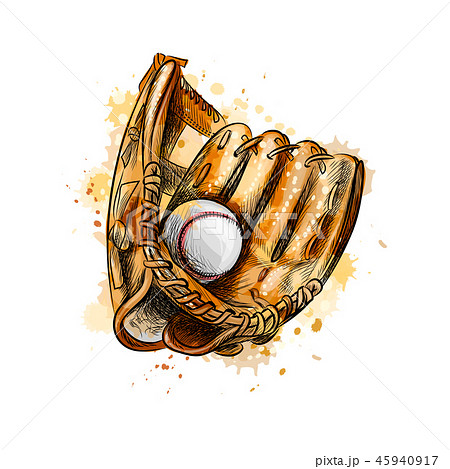 Baseball glove with ball from a splash of watercolor 45940917