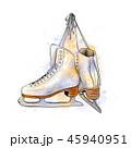 Pair of figure ice skates from a splash of watercolor 45940951