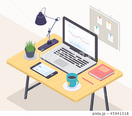 Office workplace - modern vector colorful isometric illustration 45941318