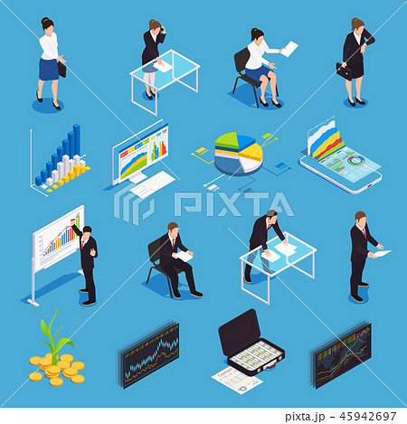 Investment Funding Isometric Icons 45942697