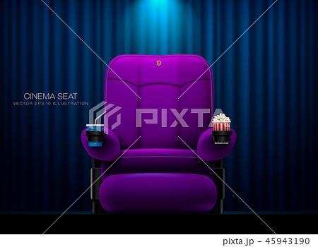 Cinema seat.Theater seat on curtain with spotlight 45943190