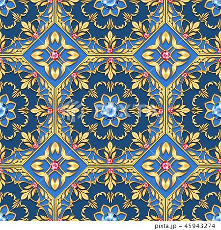 Golden oriental seamless pattern with gems 45943274