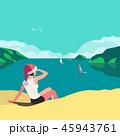 ビーチ 浜辺 ベクトルのイラスト 45943761