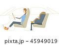 チャイルドシート お母さん 運転のイラスト 45949019