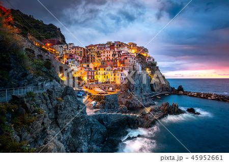 Manarola Village, Cinque Terre Coast of Italy. Manarola a beautiful small town in the province of La 45952661