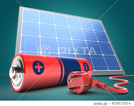 3d illustration of battery  with power cord 45957054
