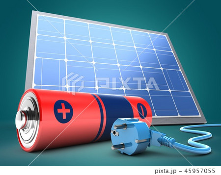 3d illustration of battery  with solar panel  45957055