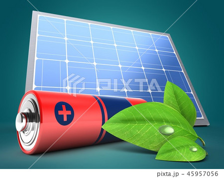3d illustration of battery  with  green leaf 45957056