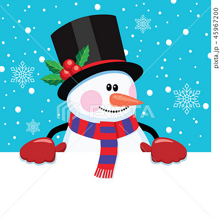 vector christmas cartoon illustration of snowman  45967200