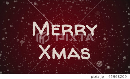 Greeting card Merry Xmas, white letters, red background 45968209