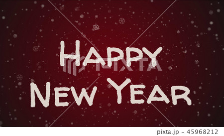 Greeting card Happy New Year, white letters, red background 45968212