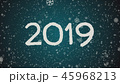 Greeting card Happy New Year 2019, white letters, blue background 45968213