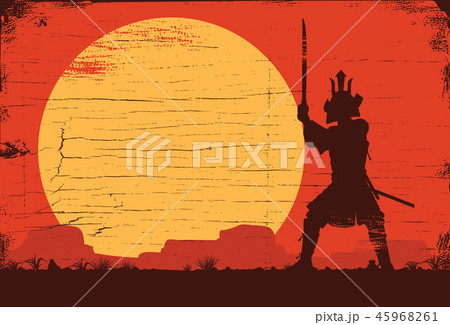 Silhouette of Japanese samurai warrior with sword 45968261