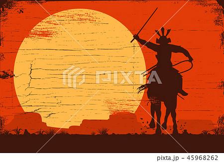 Silhouette of Japanese samurai riding horse 45968262