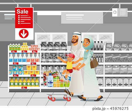 Family Shopping on Sale Cartoon Vector Concept 45976275