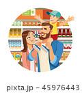 ショッピング スーパーマーケット ベクタのイラスト 45976443