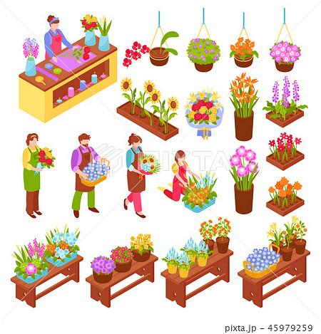 Florist Isometric Set 45979259