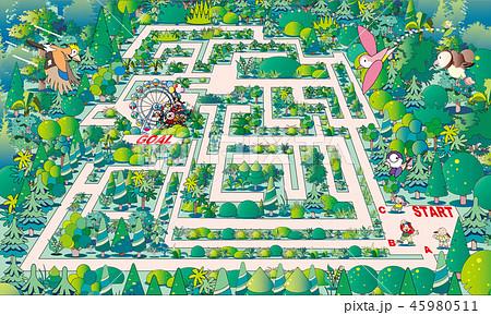 迷路, 遊園地, パズル, クイズ, 間違い探し, イラスト, 森, 道, 背景, 風景, 自然, 答え, 回答, 植物, 正解, ジグソーパズル, コピースペース, 選択, 森林, 林, 素材, 背景素材, 樹木, 新緑, ベクター