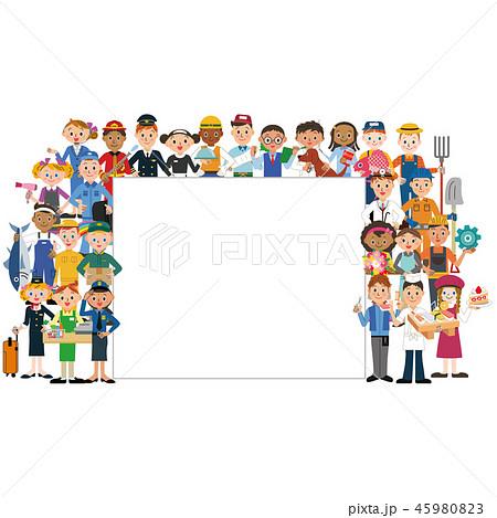 働く人々集合とメッセージボード 45980823