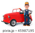 fun mechanic in overalls with a car 45987195