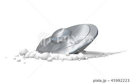 3d rendering of a 'flying saucer crash-landed on white ground. 45992223