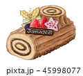 クリスマスケーキ ブッシュドノエル クリスマスのイラスト 45998077