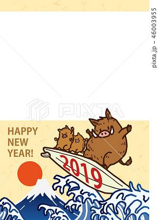 亥 2019 サーフボードに乗っている猪 フォトフレーム 年賀状 ベクターイラスト素材 46003955