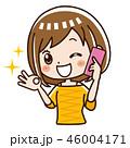 電話 スマホ 女性のイラスト 46004171