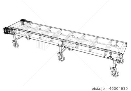 3D outline conveyor belt. 3d illustration 46004659