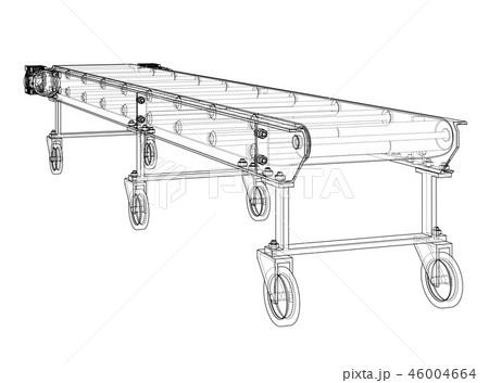 3D outline conveyor belt. 3d illustration 46004664