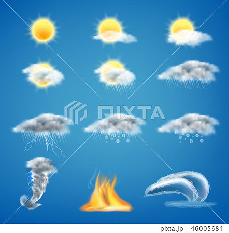 Vector 3d realistic set of weather forecast icons 46005684