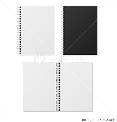 Realistic notebook. Blank open and closed spiral binder notebooks. Paper organizer and diary vector 46010384