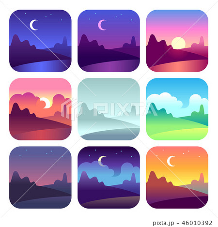 Different day times. Early morning sunrise and sunset, noon and dusk night. Sun time countryside 46010392
