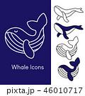set of whale icon set editable stroke, animal sign 46010717