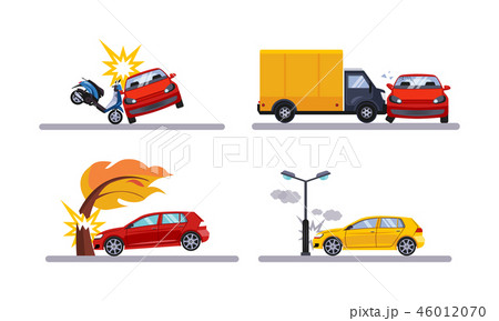 Car accidents, cars involved in a car wreck flat vector Illustration on a white background 46012070