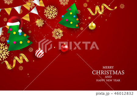 Merry Christmas and Happy New Year background. 46012832
