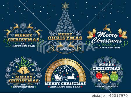 クリスマスのエンブレム/シンボルマークのセット 46017970