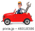 fun mechanic in overalls with a car 46018386