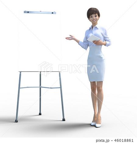 ホワイトボードを使って解説する若い女性 perming3DCG イラスト素材 46018861