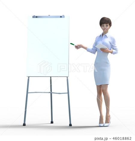 ホワイトボードを使って解説する若い女性 perming3DCG イラスト素材 46018862