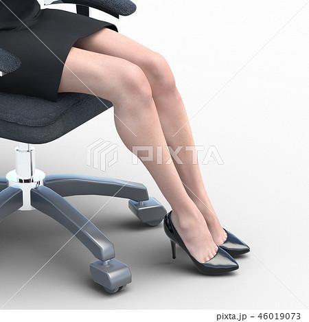 椅子に座った綺麗な足の女性 ビューティーイメージperming3DCGイラスト素材 46019073