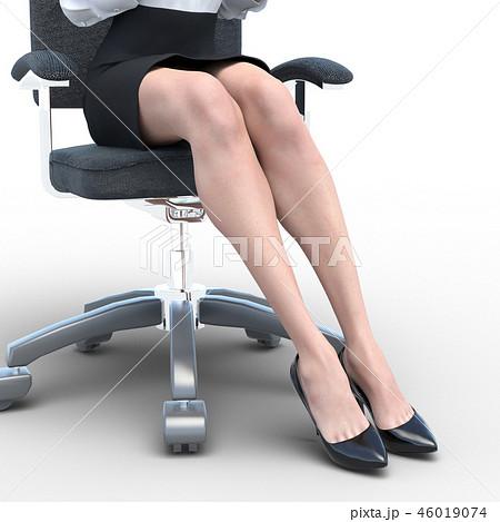 椅子に座った綺麗な足の女性 ビューティーイメージperming3DCGイラスト素材 46019074