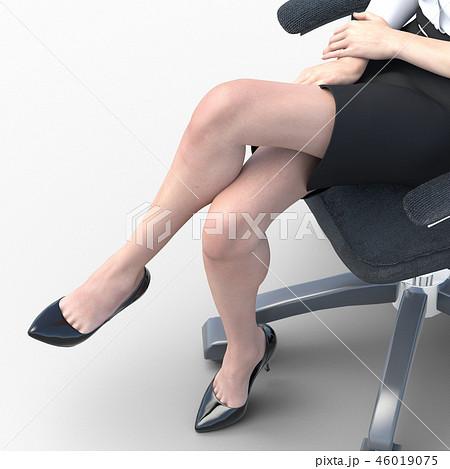 椅子に座った綺麗な足の女性 ビューティーイメージperming3DCGイラスト素材 46019075
