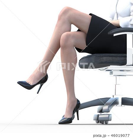 椅子に座った綺麗な足の女性 ビューティーイメージperming3DCGイラスト素材 46019077