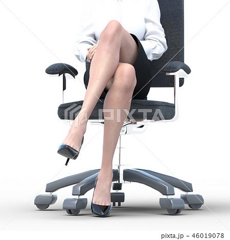 椅子に座った綺麗な足の女性 ビューティーイメージperming3DCGイラスト素材 46019078
