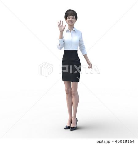 ポーズするビジネスウェアの女性 perming3DCGイラスト素材 46019164