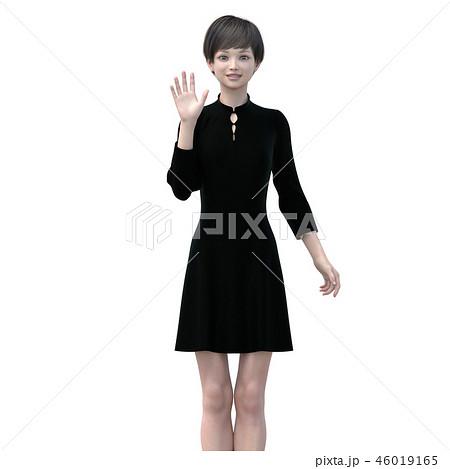 ポーズするビジネスウェアの女性 perming3DCGイラスト素材 46019165