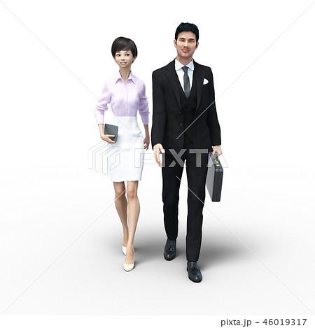 男女ビジネスマン perming3DCGイラスト素材 46019317