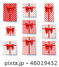 Present boxes with red ribbon and big bow isolated 46019432